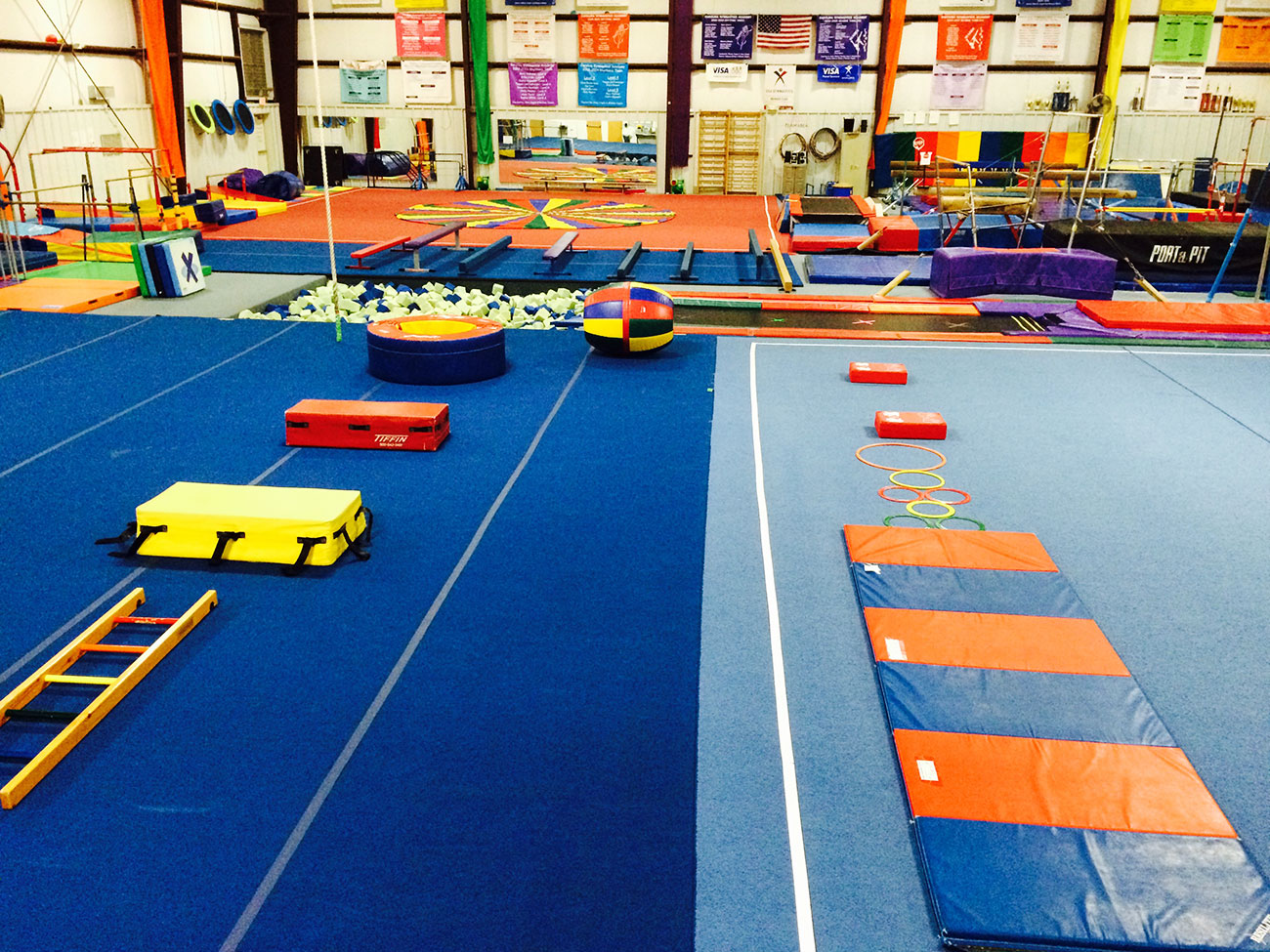 The gym includes pads, equipment, and a large foam pit